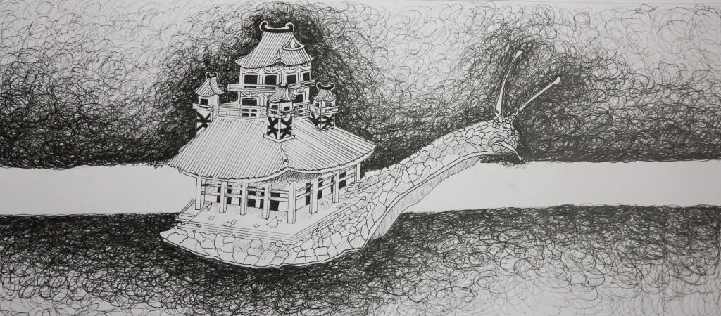 Escargot, dessin au feutre, 15x34 cm.