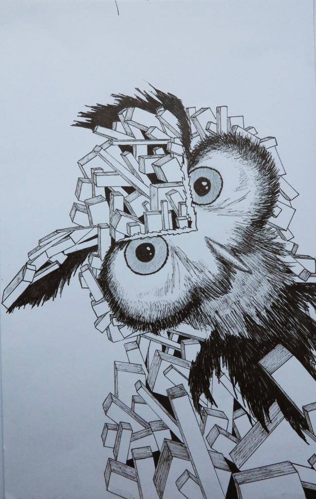 Hibou, dessin au feutre, 20x31 cm.