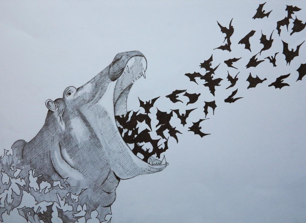 Hippopotame, dessin au feutre, 38x28 cm.