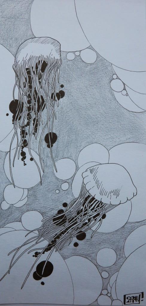 Méduse, dessin au feutre, 14x30 cm.
