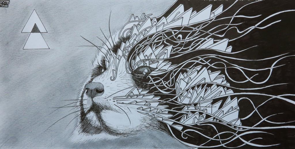 Panda, dessin au feutre, 17x34 cm.