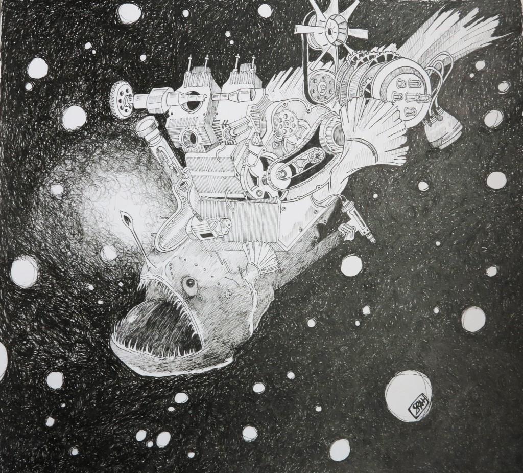 Poisson, dessin au feutre, 34x31 cm.